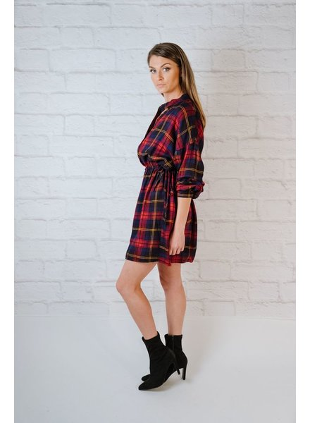 Midi Plaid Choker Neck Dress
