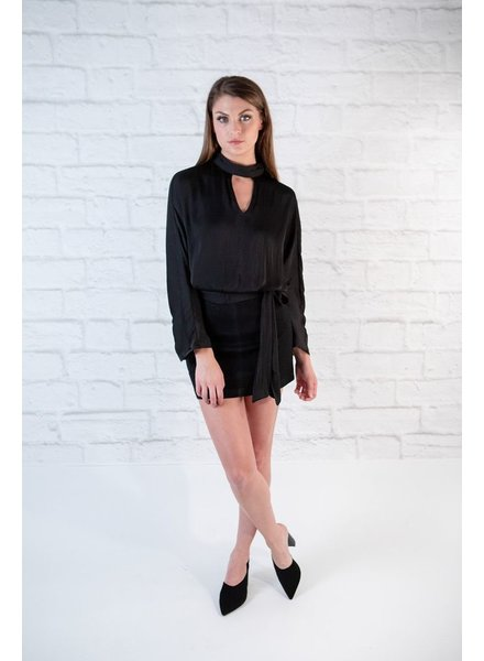 Blouse Black Satin Neck Cutout Blouse