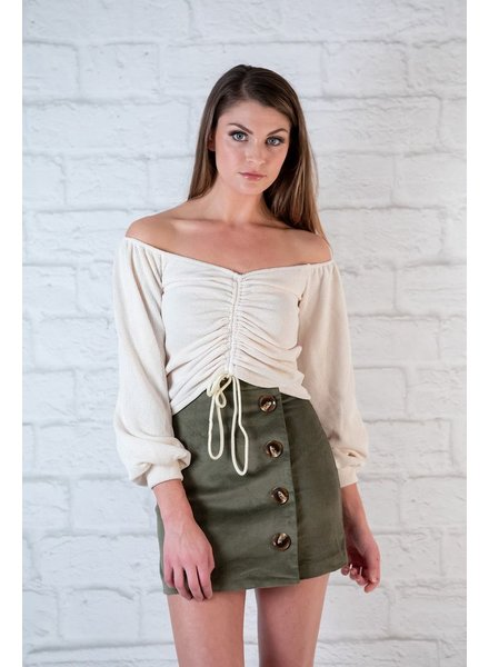 Sweater Ivory Rouched Front Crop