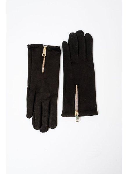 Gloves Black Zippered Gloves