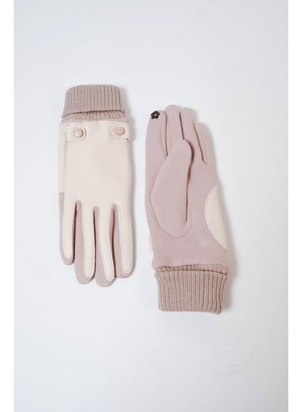Gloves Taupe Leather Front Gloves