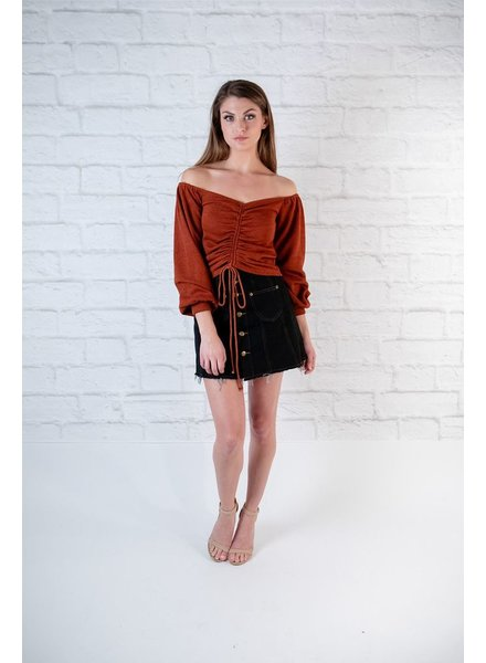 Sweater Rust Rouched Front Crop