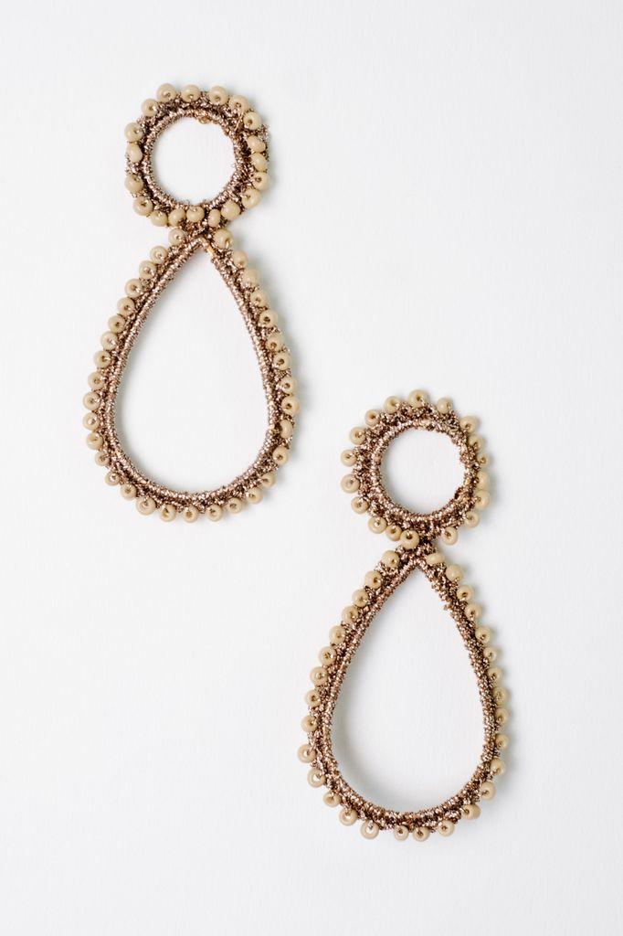 Trend Bead Lined Tear Drop Earrings