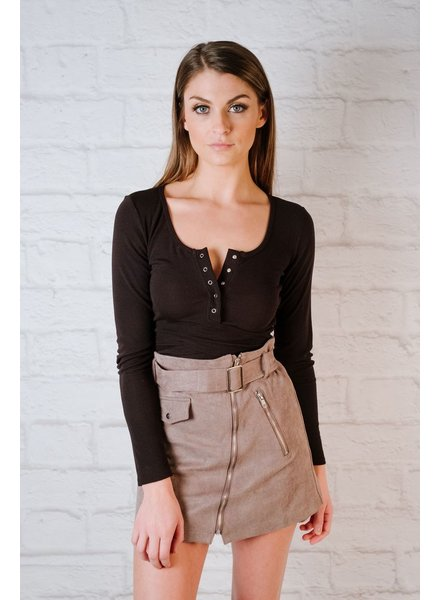 Skirt Belted Zipper Skirt