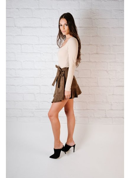 Skirt Olive Suede Wrap Skirt