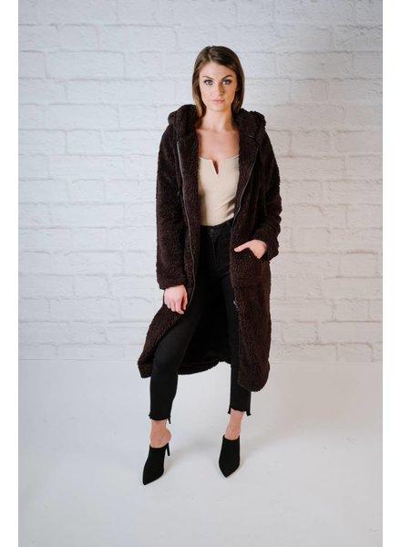 Long Sherpa Hooded Jacket