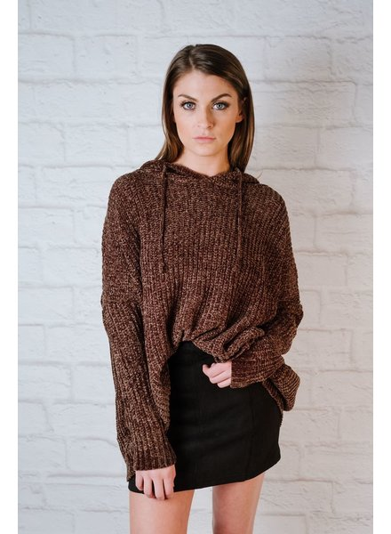 Sweater Olive Chenille Hoodie
