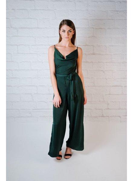 Dressy Emerald Satin Jumpsuit