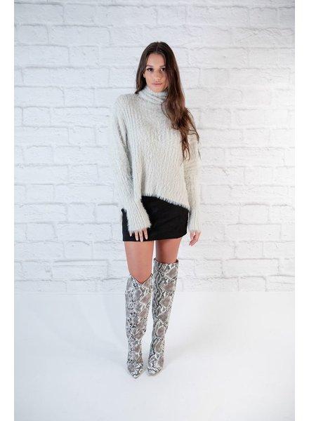 Knit Fuzzy Turtleneck Knit