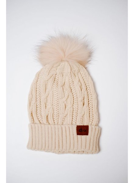 Hat Cable Knit Pom Beanie