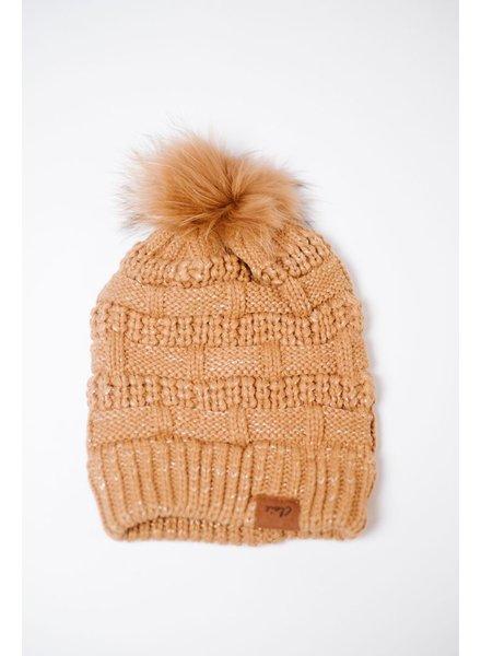 Hat Metallic Thread Pom Beanie