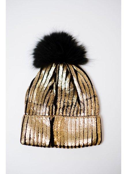 Hat Gold Metallic Pom Beanie