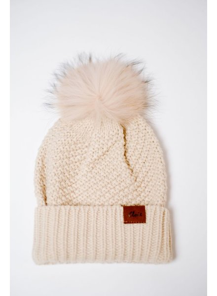 Hat Beige Knit Fur Pom Hat