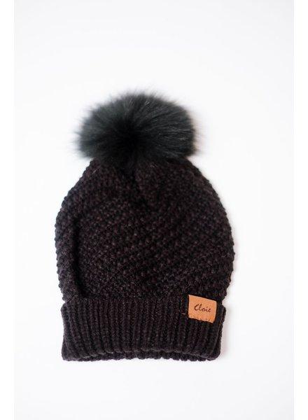Hat Black Knit Fur Pom Hat