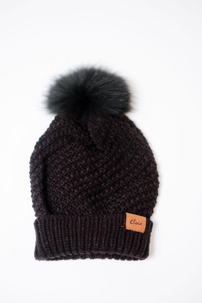 Black Knit Fur Pom Hat - Bobbles and Lace bcc7fd86c45
