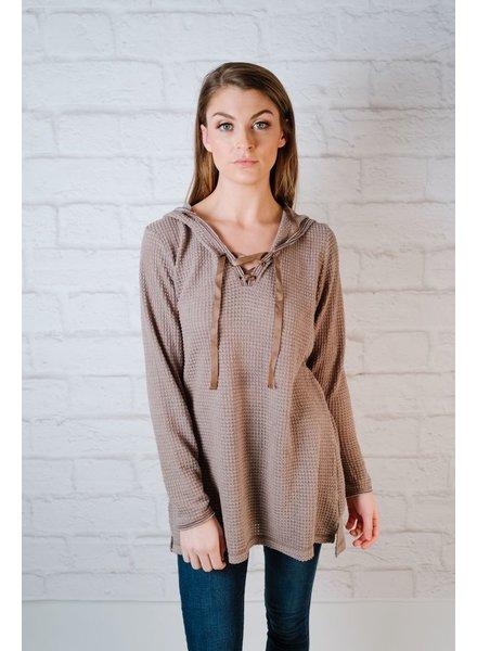 Sweater Waffle Lace Up Knit