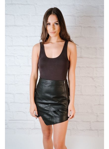 Skirt Asymmetric Vegan Leather Mini