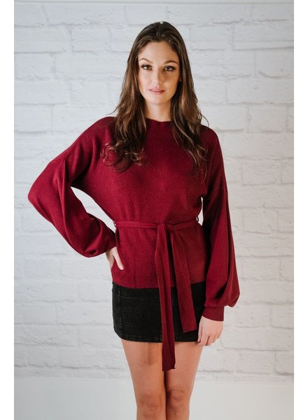 Sweater Burgundy Balloon Sleeve Knit