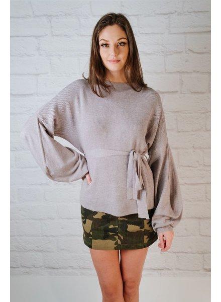 Sweater Grey Balloon Sleeve Knit