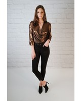 Bodysuit Metallic Draped Bodysuit