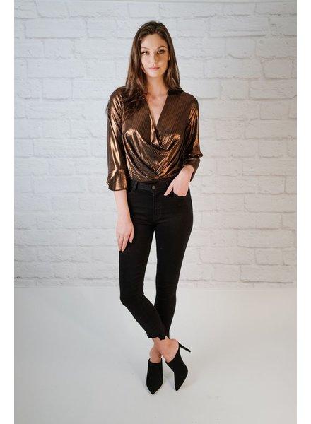 Bodysuit Metallic Draped Bodysuit