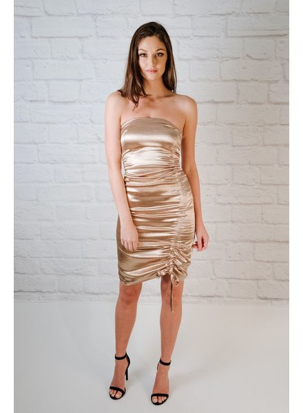 Midi Gold Ruched Midi