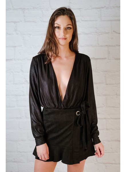 Skirt Black Suede Wrap Skirt