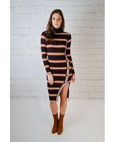 Midi Striped Button Slit Midi