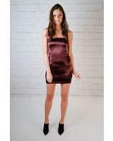 Mini Satin Wine Slipdress