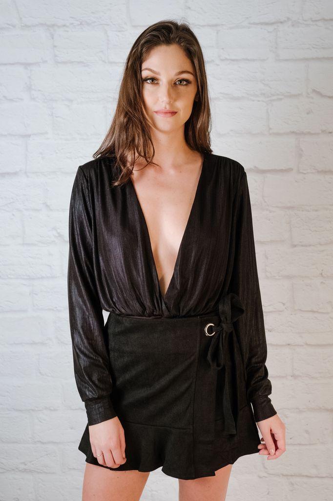 Bodysuit Black Metallic Bodysuit
