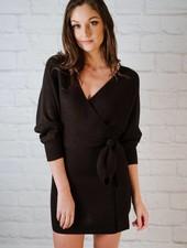 Mini Black Wrap Sweater Dress