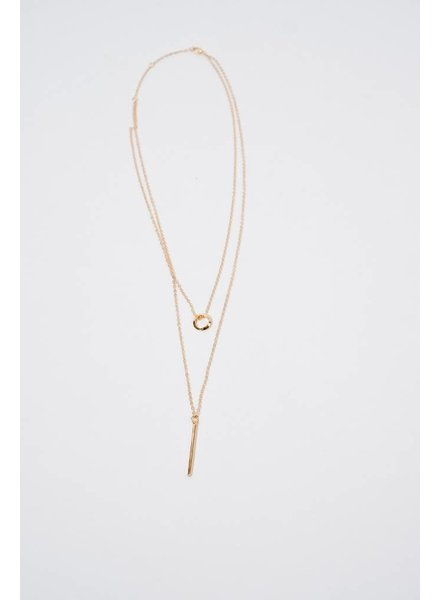 Long Layered Circle Post Necklace