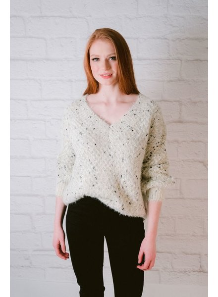 Knit Fuzzy V-Neck Knit