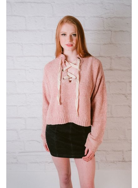 Sweater Dusty Rose Lace Neck Knit