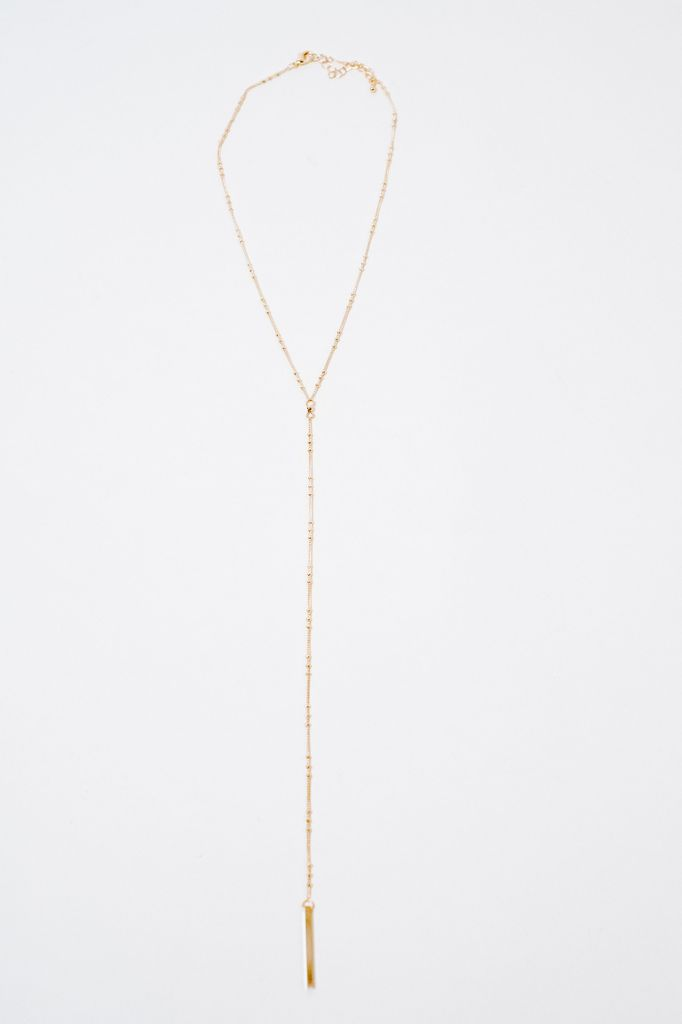 Long Beaded Y Style Necklace
