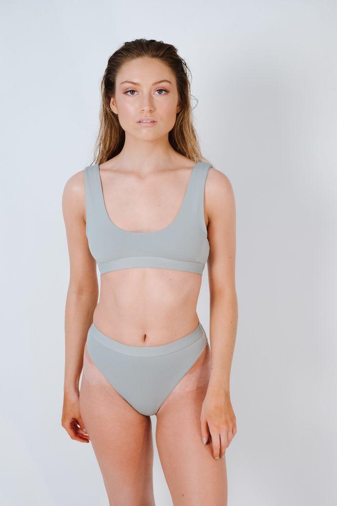 Bikini Light grey high cut banded bottom