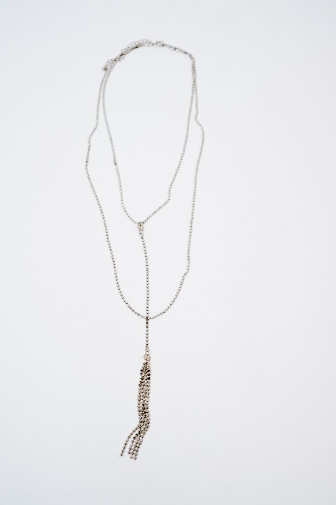 Long Silver Layered Tassel Necklace