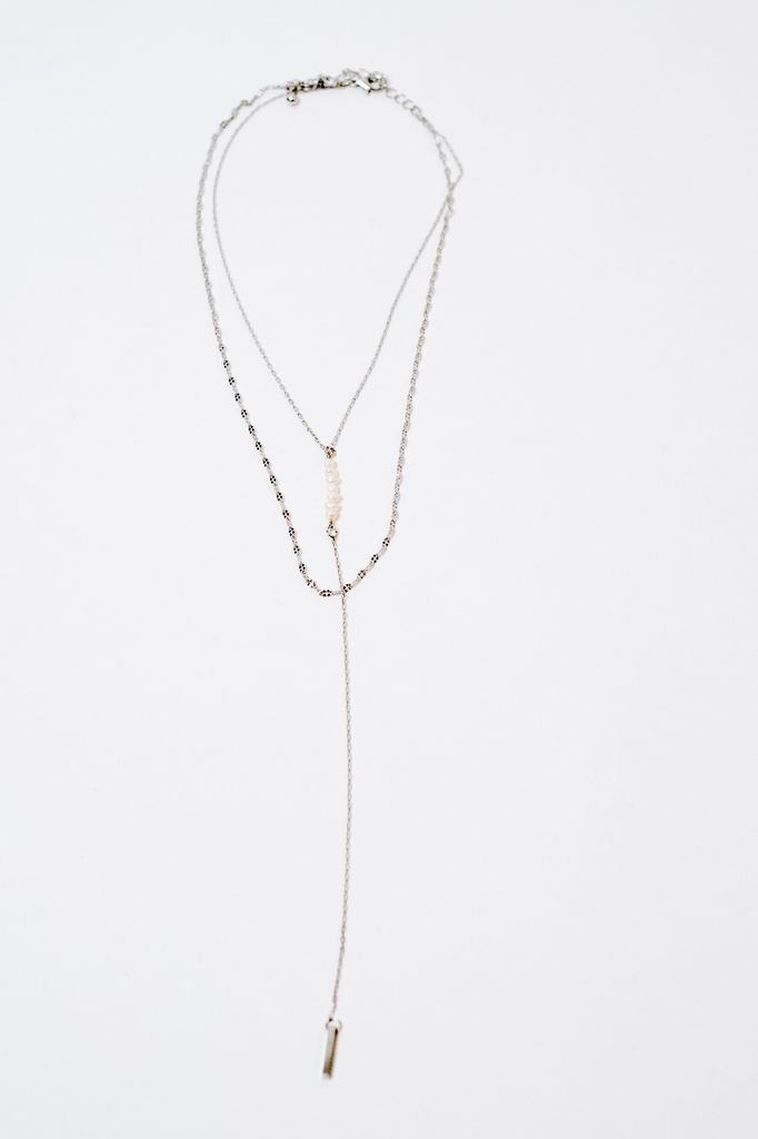 Long Layered Pearl and Bar Necklace