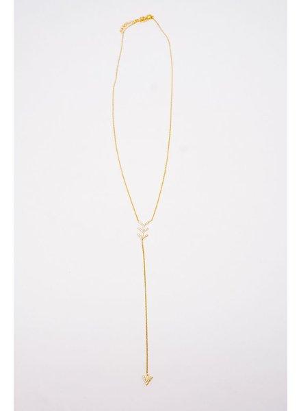 Sterling Rhinestone Arrow Necklace