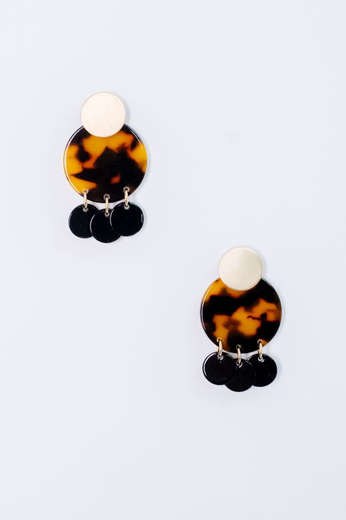 Trend Tortoise Disk Earrings