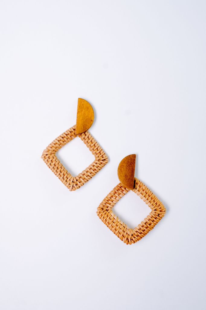 Trend Half Moon Wicker Earrings