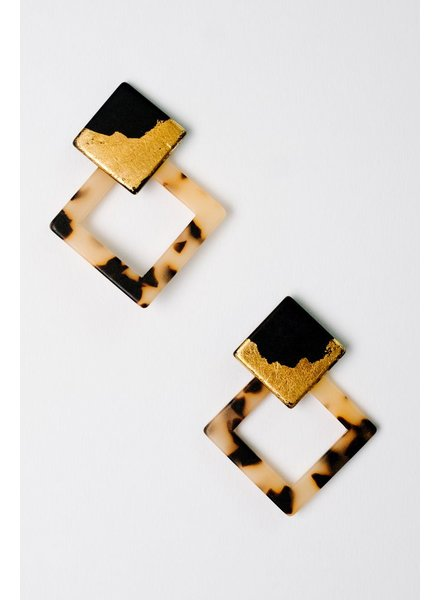 Trend Two Tone Diamond Tortoise Earrings