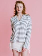 Sweatshirt Striped Side Lace Sweatshirt