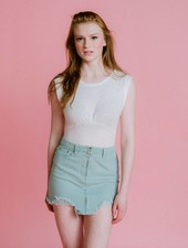 Skirt Mint Destroyed Mini Skirt