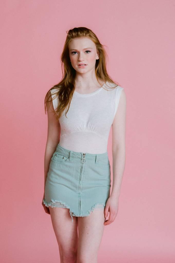 Skirt Mint Destroyed Mini Skirt