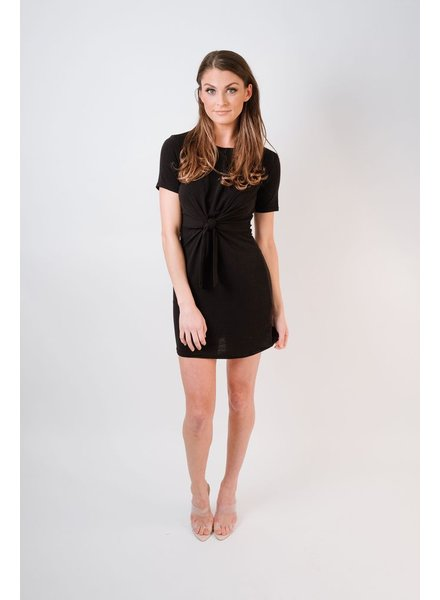 Casual Black Knot Front Dress
