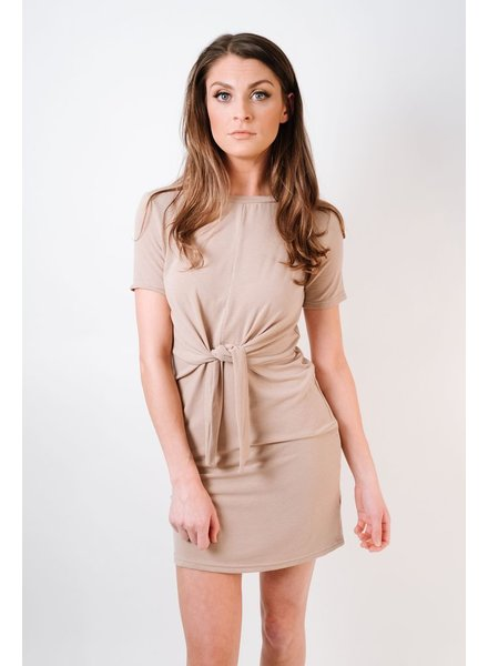 Casual Taupe Knot Front Dress