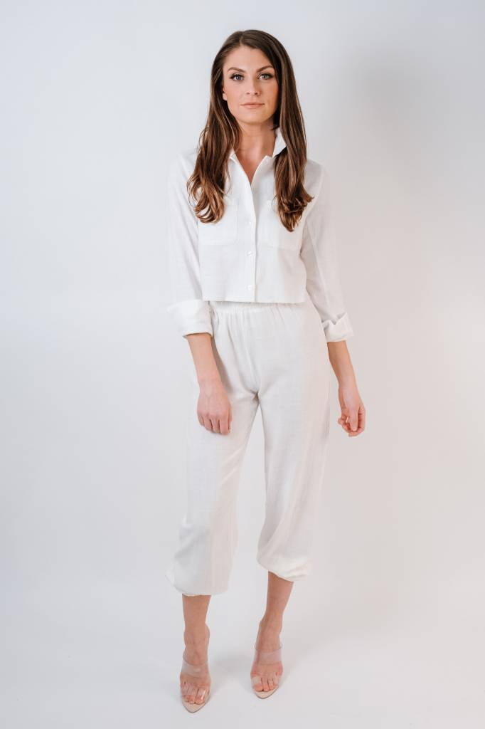 Blouse Frayed Edge Button Down