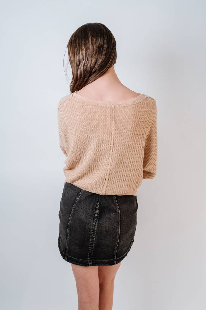 Knit Washed Waffle Knit Top