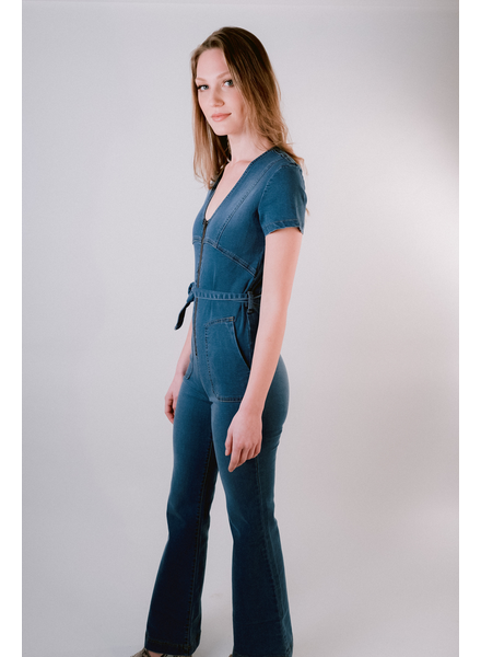 Casual Denim Flared Jumpsuit